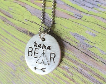 Mama bear necklace, momma bear necklace, Mothers day necklace, bear becklace, family necklace, mama bear necklace, mama bear jewelry