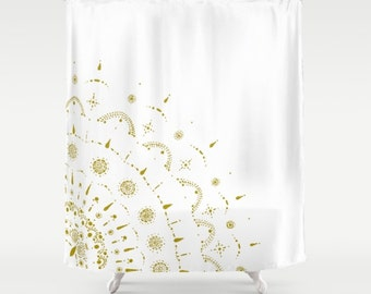 Gold & White Shower Curtain, gold shower curtain, white shower curtain, mandala curtain, gold white curtain, gold white shower