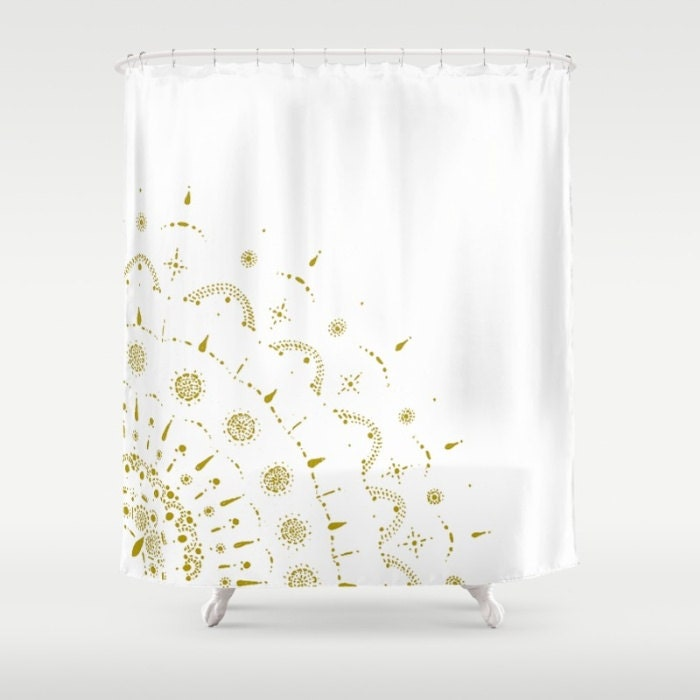 Gold Amp White Shower Curtain Gold Shower Curtain White Shower