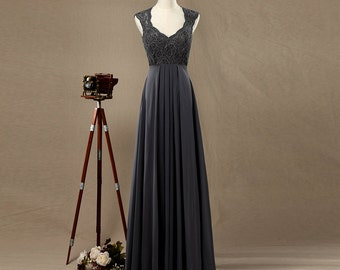 Dark Grey Bridesmaid dress, Lace Wedding dress, Double Straps Prom dress, Evening dress floor length