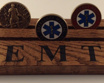 SALE Emergency Medical Technician Coin Holder Etched E M T Challenge Coin Display Oak Stained Dark Walnut Holds up to 12 Coins