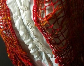 Flaming red goddess valentine's  shawl, handspun ,hand woven
