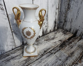 Neoclassical Antique Sevres Alka Kunst Bavaria Porcelain Vase Gold Gilt W. Germany Laurel Wreath Swan