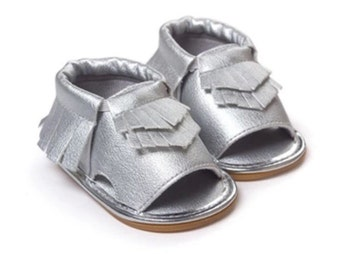 Moccasin Sandals Silver