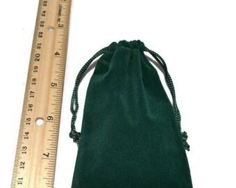 5 Green Velvet Jewelry Pouches