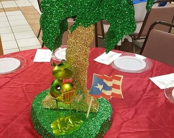 Puerto Rico- Puerto Rico themed party-carribean theme-palm tree-beach theme party-green palm tree-beach party