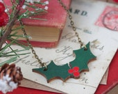 Wooden Holly Christmas Necklace
