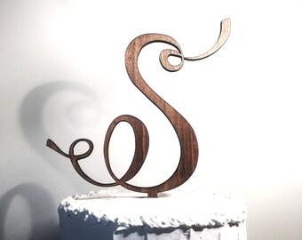 Wooden Wedding Cake Topper: Letter S, Monogram Cake Topper, Rustic Cake Topper, Handmade Cake Topper
