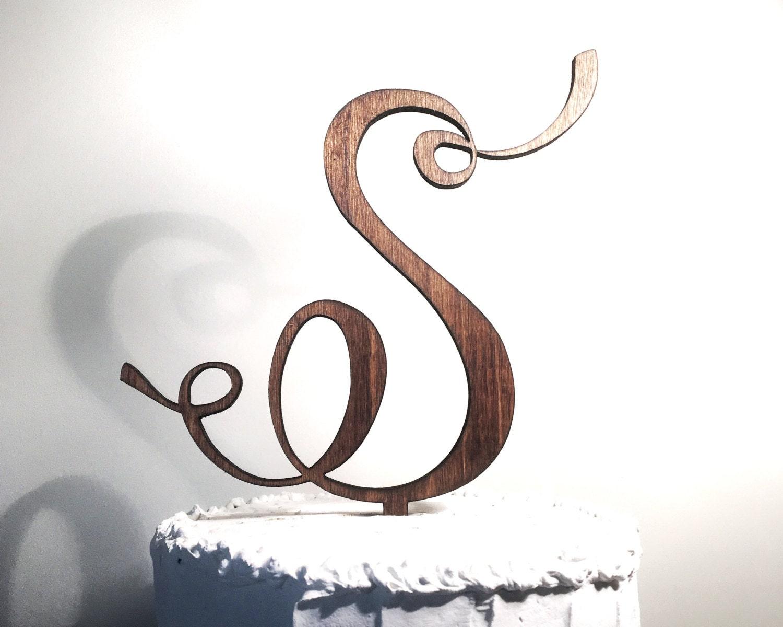 Wooden Wedding Cake Topper Letter S Monogram Cake Topper