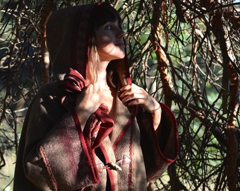 Back to Rivendell - wool felt oversized elf hooded-cape with old hand dyed silk fragments and embroidery - OOAK - to order!