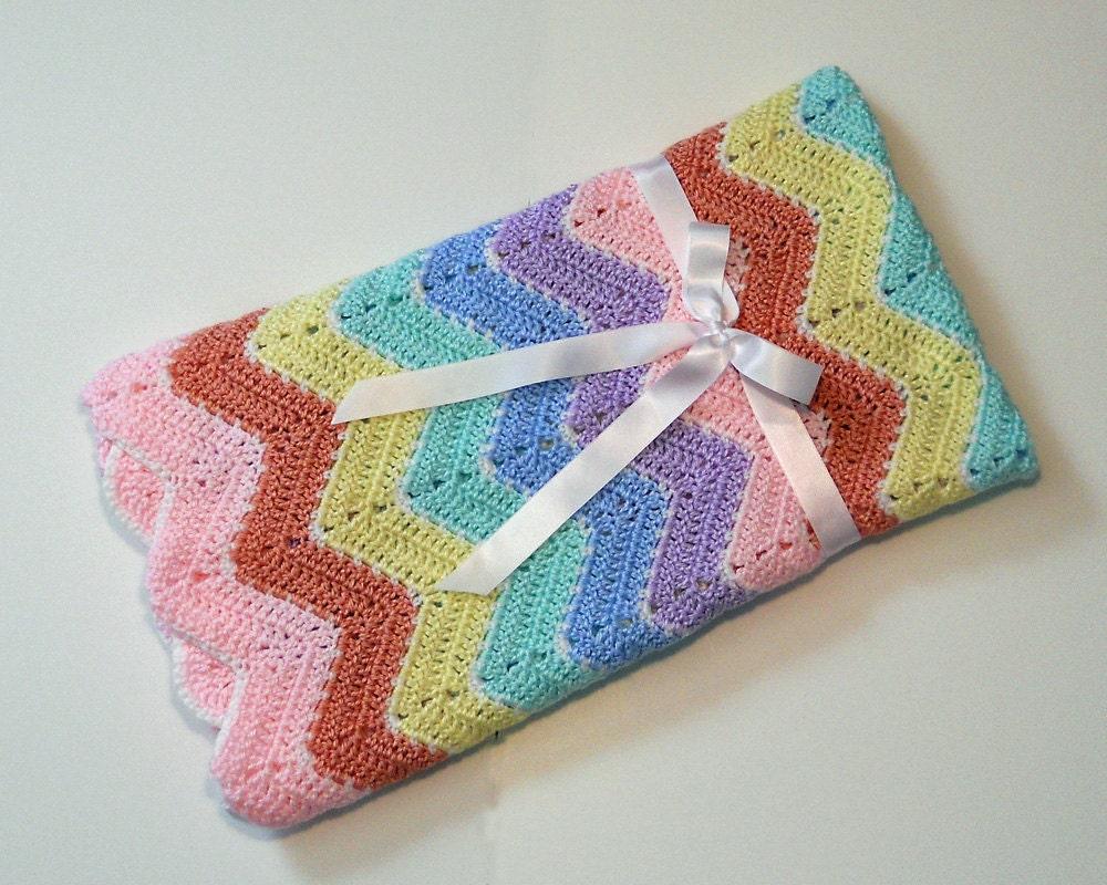 Crochet Baby Blanket Pastel Rainbow Ripple Afghan Baby