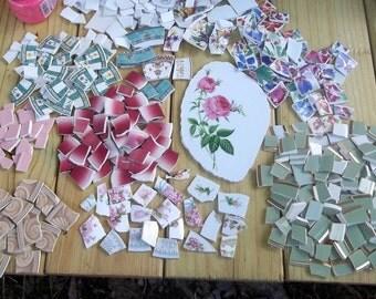 Take 40%  Off,Broken China, Mosaic Pieces Lot, Mosaic supplies, Hand cut China, Over 400 Pieces