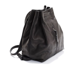 Womens Leather Backpack - School backpack - Black leather backpack for women -  Handmad backpack - Full lining - Front and Back pockets