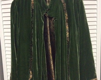 Boho Jacket in Green Velvet and Brocade.   OOAK