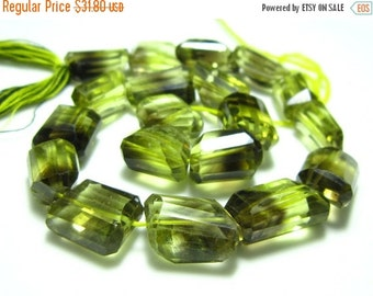 "MEGA SALE Bio Lemon Quartz Step Cut Nuggets- 8"" Strand -Stones measure- 12-15mm"