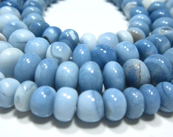 "AAA Blue Opal Smooth Big Rondelle- 8.50""Strand -Stones measure- 8mm"