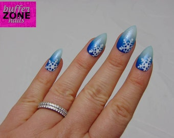 Hand Painted Press On False Nails, Blue Glitter Ombre And Snowflake, Stiletto Long Length