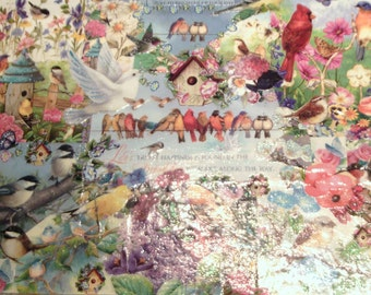 tray Decoupage Birds and Flowers