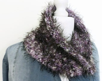 Faux fur scarf cowl, lilac infinity scarf, knitted cowl, neck warmer scarf, winter scarf, loop scarf, lilac eternity scarf, infinity scarf