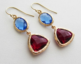 Blue Sapphire and Red Siam Drop Earrings Bridesmaid Gift Wedding Earrings, Bridal Jewelry ,Green Dangle Earrings, Gift