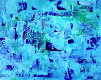 Large Blue Abstract Painting Blue Home Decor 30x40 Wall Art by Nacene Prchal