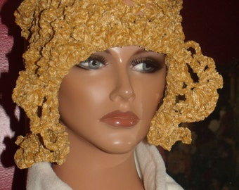 Golden Velvet Antique style  Crochet Flapper Hat Cloche 1920s Theme