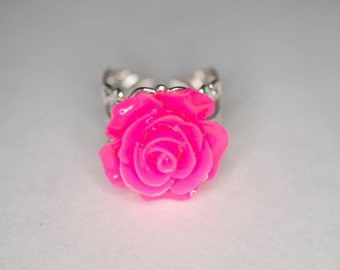 Bright Pink Rose Ring