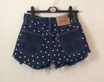 Vintage Up-Cyled DIY Levi Indigo Dark Denim Cut Off Shorts Frayed Hems Studded XS