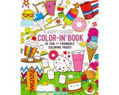 """32 Page Happy Snacks Spiral Perforated Coloring Book One-Sided Pages Adult Kids Coloring Book Pages 9"""" x 12"""" Optional Crayons Unique Gift"""