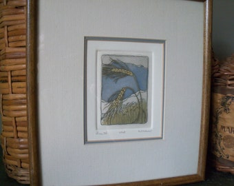 Vintage Framed Wall Art Wheat Wisconsin Farm Signed Numbered Miniature Susan Hunt-Wulkowicz