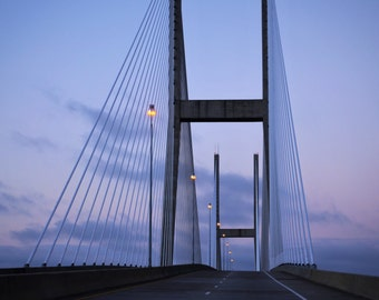 Travel Photography-To The Golden Isles-Fine Art, Minimalist Art, Bridge, Sculptural, Southern, Coastal, Evening, Twilight, Architectural