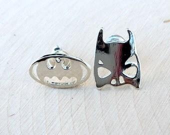 Batman Earrings in Silver, Silver Batman Earrings, Batman Head & Logo Earring Set, Batman Jewelry, Super Hero