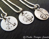 TINY sterling silver initial necklace bridesmaid jewelry personalized