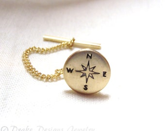 COMPASS tie Tack pin graduation gift for him traveler