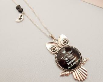 Owl necklace - cabochon necklace owl - silver owl necklace - Bird necklace - love necklace - owl pendant necklace - moon charm