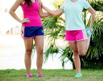 Women's Monogram Running Shorts, Personalized Gym Shorts, Monogrammed Shorts for Women