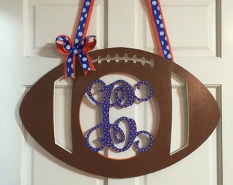 Wooden Wall Monogram Football, Football Wall Decor, Wooden Monograms for the Home, Monogram Football Door Hanger,