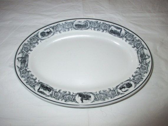 "Shenango Restaurantware 9.5"" Oval Platter / Chop Plate, Black Band, Steam Trains Locomotives (Railroadiana), c. 1973"