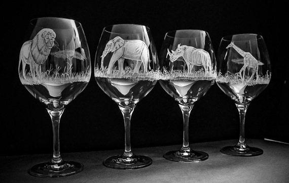 African Wildlife set of 4, wedding, renaissance, gift set, lion, elephant, giraffe, rhino, home decor, barware, wineglass, handengraved