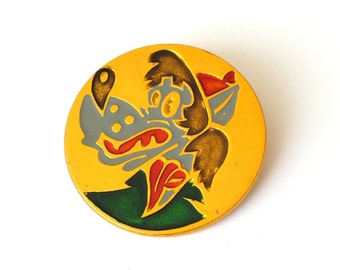 """Vintage Russian pin with famous soviet cartoon character wolf from cartoon """"Nu pogodi"""". Metal pin badget painted in enamels."""