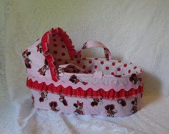 Doll Moses Basket Minnie Mouse Print Accented with Polka Dots & Rick Rack, One of a Kind, Ready to Ship for Baby Alive, Bitty Baby and More