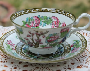 "COLLINGWOODS Bone China Teacup and Saucer Set ""India Tree"""