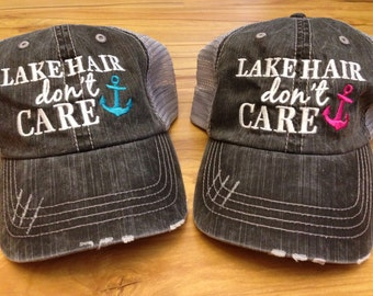 Lake Hair Don't Care Trucker Style Hat, Baseball Cap, Summer Hat, Beach Hair, Beach Hat, Girls or Ladies, River, Lake, Pink, Blue You Pick