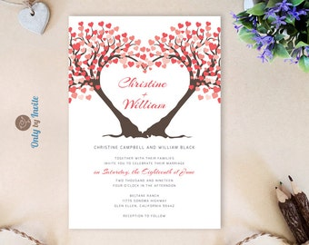 Heart shaped tree wedding invitations PRINTED | Red heart wedding invitations cheap | Elegant romantic invitations for wedding ceremony