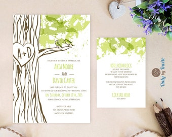 Tree Wedding Invitations Printed | Carved Heart Tree Wedding Invite + Info  Card | Woodland Invitation