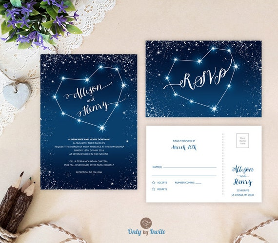 starry night wedding invitations printed heart constellation, Wedding invitations