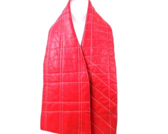 Red Leather Quilted Scarf