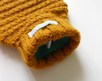 TheCraftyElks: Hand Knitted Hot Water Bottle Cover (Cosy) in Mustard - Alpaca Yarn