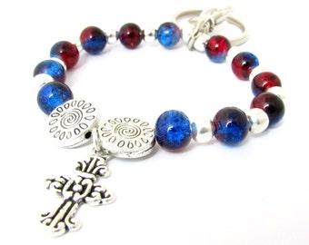 Keychain Bracelet, Wrist Keychain, Bead Wrist Keychain, Crucifix Keychain, Wristlet Keychain, Bracelet Keychain, Car Accessories, WK14