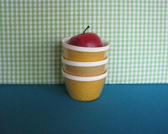 Raffiaware Bowls - Set of 3 - Bright Yellow - Ice Cream Bowls - Vintage 1960's